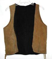 Vintage 60s Hippy Brown Suede Black Side Laces Fleece Lining Womens Vest Size S