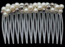 6 Clear Pearl Beaded French Roll Twist Volume Inserts Hair Side Comb Clip Pin
