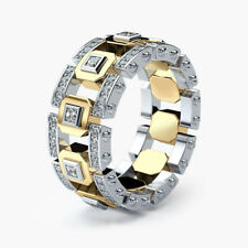 Fashion Two Tone 925 Silver Rings for Men Wedding Party Ring Size 6-10