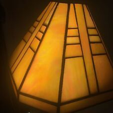 RARE! CRAFTSMAN MISSION STYLE STAINED GLASS LEADED LAMP LIGHT SHADE IRIDESCENT