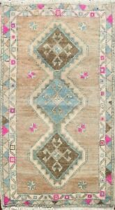 Geometric Tribal Muted Authentic Oushak Turkish Handmade Oriental Area Rug 2'x3'