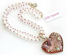 Betsey Johnson Rose Gold Pink Crystal Not Your Babe Statement Necklace