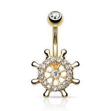 Piercing de Ombligo Enchufe Dorado Cristal Timón Volante Cristales