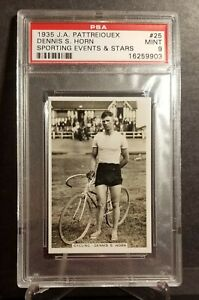 RARE !! 86yr old 1935  BICYCLING tobacco cigarette card DENNIS HORN PSA 9 MINT