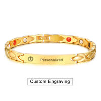Gold Medical Alert ID Health Therapy Magnet Bracelet Personalized Free Engraving