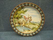 """Ginori 19th Mythological Italian ceramic plate MAJOLICA TITLED """"Glauco & Isilla"""""""