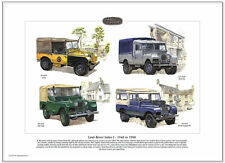 "LAND-ROVER 'LEGENDS' SERIES 1 1948 to 1958 Fine Art Print - 80"" 86"" 107"" Pick-Up"