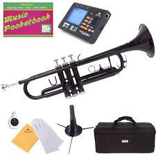 Mendini Bb Trumpet Black Lacquered Student Band +Tuner+Case+CareKit ~MTT-BK