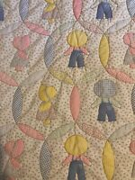 Vintage Sunbonnet Sue Quilt Wall Hanging Stitched Cheater Fabric Calico A34
