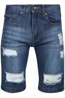Mens Faded Distressed Destroyed Rip Button Classic Knee Length Denim Jean Shorts