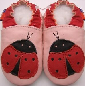 Minishoezoo ladybug pink  24-36 m US 9-10 soft sole leather girl shoes