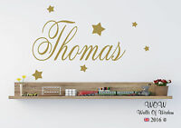 Personalised Name Wall Art Sticker With Stars Boys Bedroom Any Name