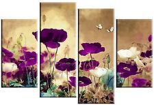"PURPLE PLUM BEIGE CANVAS ART ORIENTAL FLORAL FLOWER SPLIT 4 PIECE PICTURE 40"""