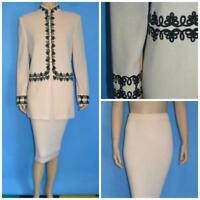 St John Collection Knit Cream Jacket Skirt L 12 14 2pc Suit Black Embroidery