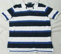 Ralph Lauren Polo Shirt Short Sleeve Man's Cotton Size XL Top White Blue X-Large