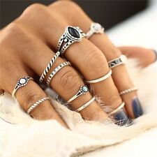 12pcs/Set Gold Silver Boho Stack Plain Above Knuckle Ring Midi Finger Tip Rings