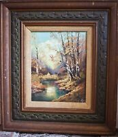 Original oil painting canvas signed framed scenic pastoral land scape 8x10