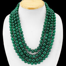 MOST EXCELLENT 1108.00 CTS EARTH MINED 4 LINE GREEN EMERALD ROUND BEADS NECKLACE