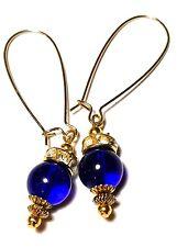 Long Blue Earrings Prom Bridal Vintage Gold Style Boho Drop Dangle Glass Bead