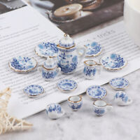 15Pcs 1:12 Dollhouse Miniature Tableware Porcelain Ceramic Tea Cup  mi