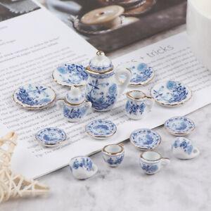 15Pcs 1:12 Dollhouse Miniature Tableware Porcelain Ceramic Tea Cup Set