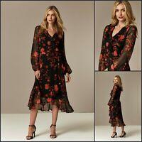 Wallis Tall Dress Size 18 | Black Floral Print Ruffle | BNWT | £58 RRP | New!