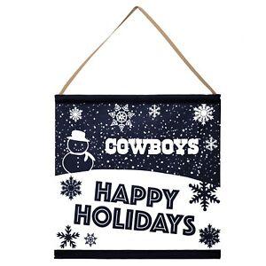 Dallas Cowboys Happy Holidays Banner Sign Christmas Wall Door Decoration