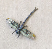 Unique dragonfly with movable long tail brooch in enamel on metal with crystals.