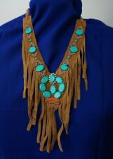 Brown Suede Fringe Indian Tribal Cowgirl Style collar Turquoise beads N39-9/22