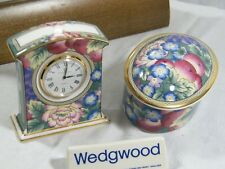 """Wedgwood / Royal Doulton """" Orchard Hill """" Clock with Oval covered matching Tray."""