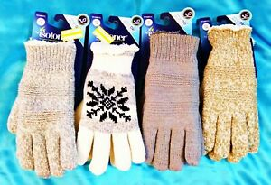Knit Isotoner Lined Camel Ivory Women's Gloves One Size