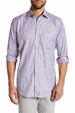NWT Peter Millar Sateen Check Long Sleeve Button Front Shirt Size Medium