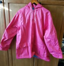 Misty Harbor Womens Vintage Vinyl PVC Raincoat Sz 2X Plaid lined Hooded zip pink