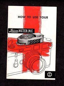 Leica M2, M3 Original Leica Meter MC Users Manual