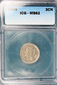 1865 ICG MS62 Three Cent!! *FJ