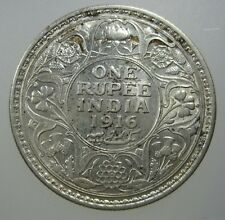 INDIA BRITISH 1 RUPEE 1916 SILVER SHARP BU LUSTER #N INDIAN CROWN COIN