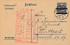 DP2 - seltene Aufbrauchkarte mit 2 Balken ( Postsache ) 1926 im Ortsverkehr