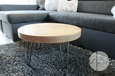 Chunky,Rustic, Industrial, Wood Round Coffee Table Metal Hairpin Legs