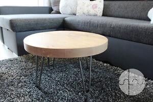 Chunky,Rustic, Industrial, Wood Round Coffee Table Metal Hairpin Legs