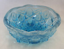 """Vtg Unmarked 7"""" Blue Etched Footed Glass Decorative Bowl Candy Serving"""