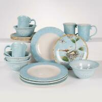 Fitz & Floyd Toulouse Blue 16 Piece Dinnerware Set Service for 4 Hand Painted