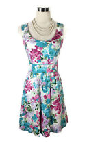 REVIEW Dress - 1950s Vintage Retro Style Floral Bow White Pink Blue Green - 6/XS