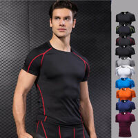 Mens Fitness Gym Compression Base layer Slim Tight Running Cool Dry Shirts Tops