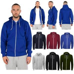 Mens Zipper Plain Hoodies Hoody Jacket Sweatshirt Hood American Fleece s - 5XL