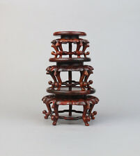 bonsai stand display red hard wood China rosewood 1 set 3PC round 5-leg base