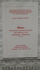 1974 menu Red Cross of Constantine consecration Ancaster Conclave No. 282
