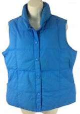 Lands End solid blue quilted goose down snap puffer vest women M 10-12