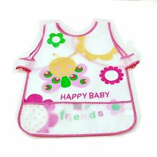 New Waterproof EVA Baby Toddler Easy Wipe Bibs back strap pouch apron Butterfly