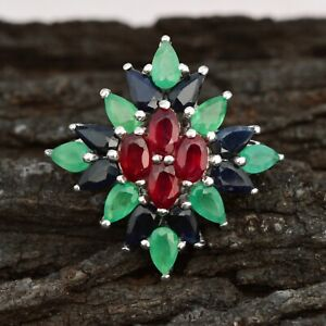 Natural Ruby sapphire Emerald Ring Solid 925 Silver Ring Wedding Ring For Her
