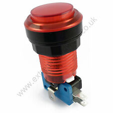 28mm Round 12v LED T10 Bulb Arcade Button & Microswitch (Red) - MAME, JAMMA